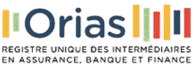 Orias (logo) : Registre unique des intermédiaires en assurances, banque et  finance.